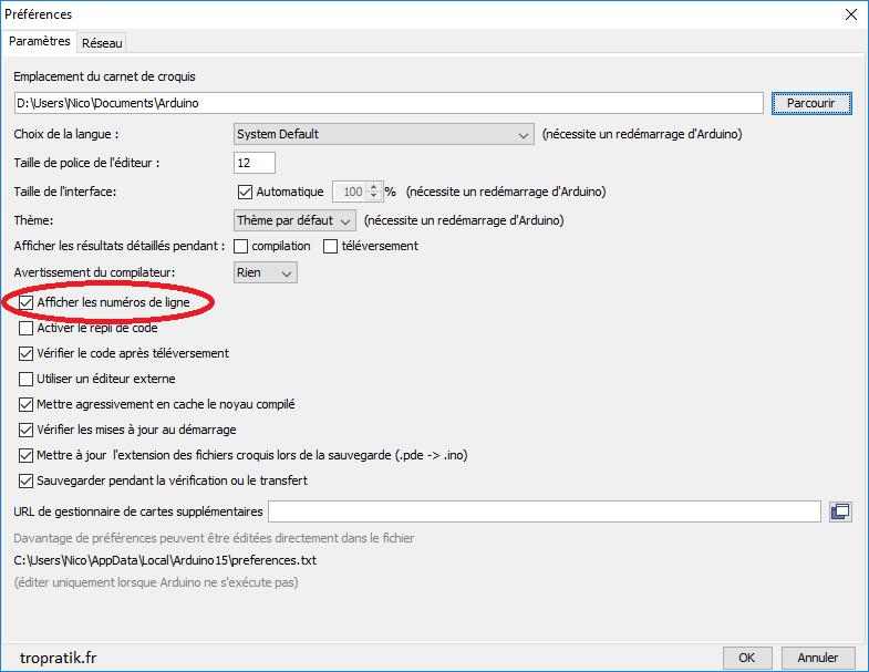 Activer les numéros de ligne sur l'Arduino IDE