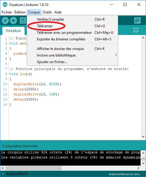 Transférer le programme compilé sur la carte Arduino
