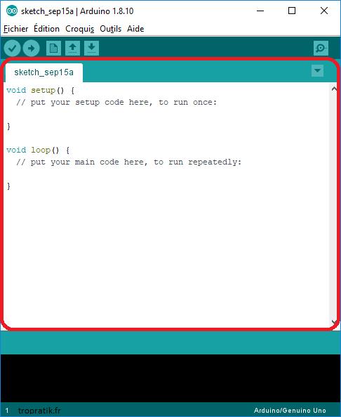Zone d'écriture du programme Arduino dans l'environnement de développement Arduino