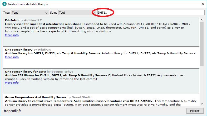 Recherche de la bibliothèque Arduino pour DHT11