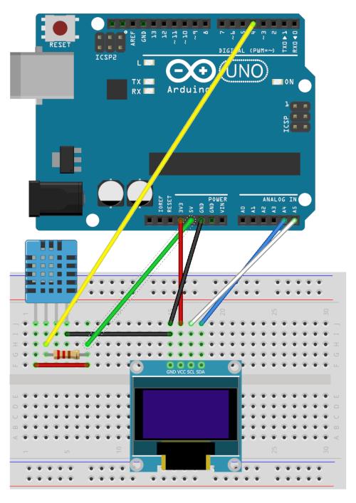 Branchement d'un écran Oled 0.96 et d'un capteur DHT11 sur Arduino