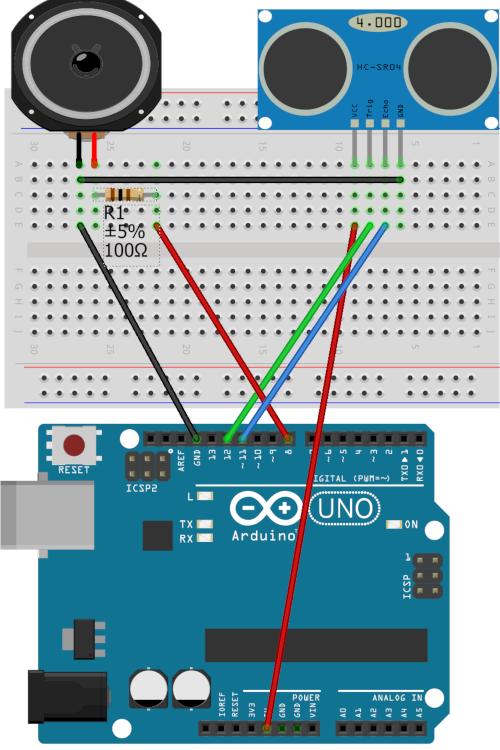 Branchement d'un Haut parleur et d'un capteur HC-SR04 sur Arduino
