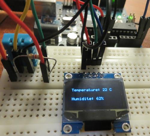 Résultat de la mesure de la température et de l'humidité avec un Arduino Uno