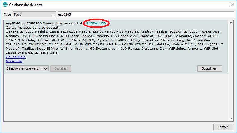 """Le gestionnaire de carte Arduino """"esp8266 by ESP8266 Community"""" est installé"""