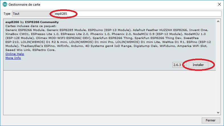 Recherche du gestionnaire de carte Arduino pour l'AESP8285