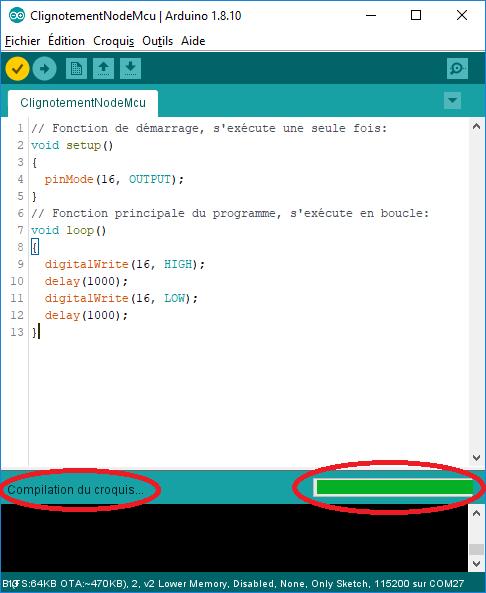 Compilation du code logiciel en cours