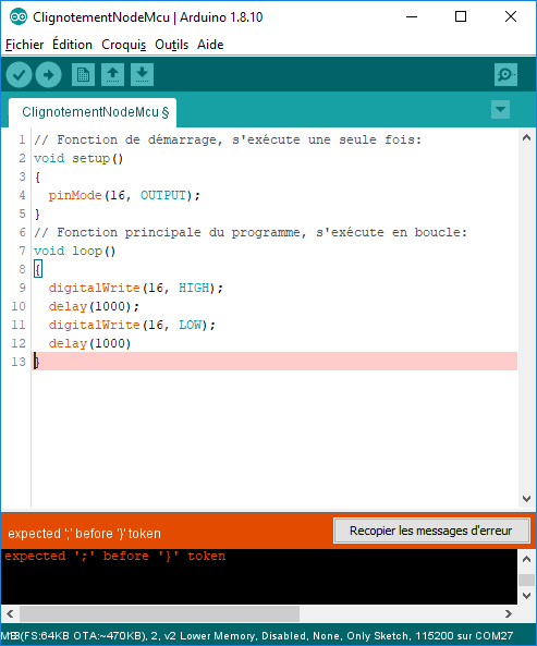 La vérification/compilation du code logiciel a échouée