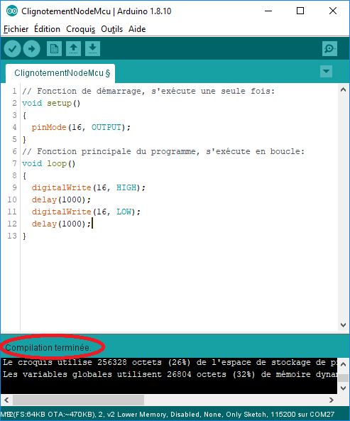 La vérification/compilation du code logiciel a réussie