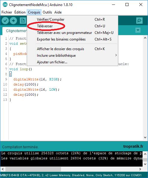 Transférer le programme compilé sur la carte de développement ESP8285