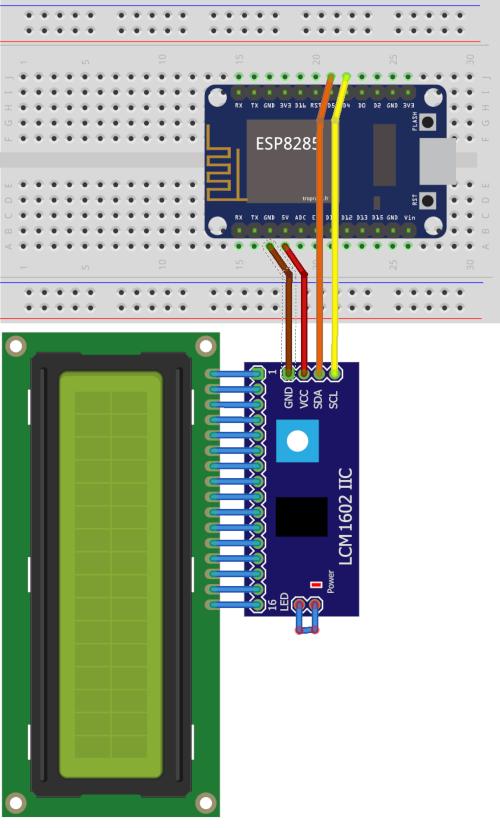 Branchement d'un écran LCD1602 sur une carte de développement ESP8285