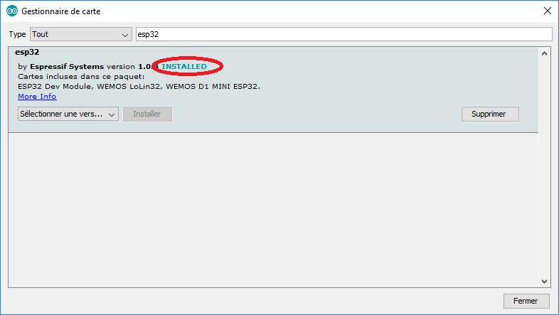 "Le gestionnaire de carte Arduino ""esp32 by Espressif Systems"" est installé"