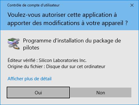 """Contrôle de compte d'utilisateur pour installer les pilotes """"Silicon Lab"""""""