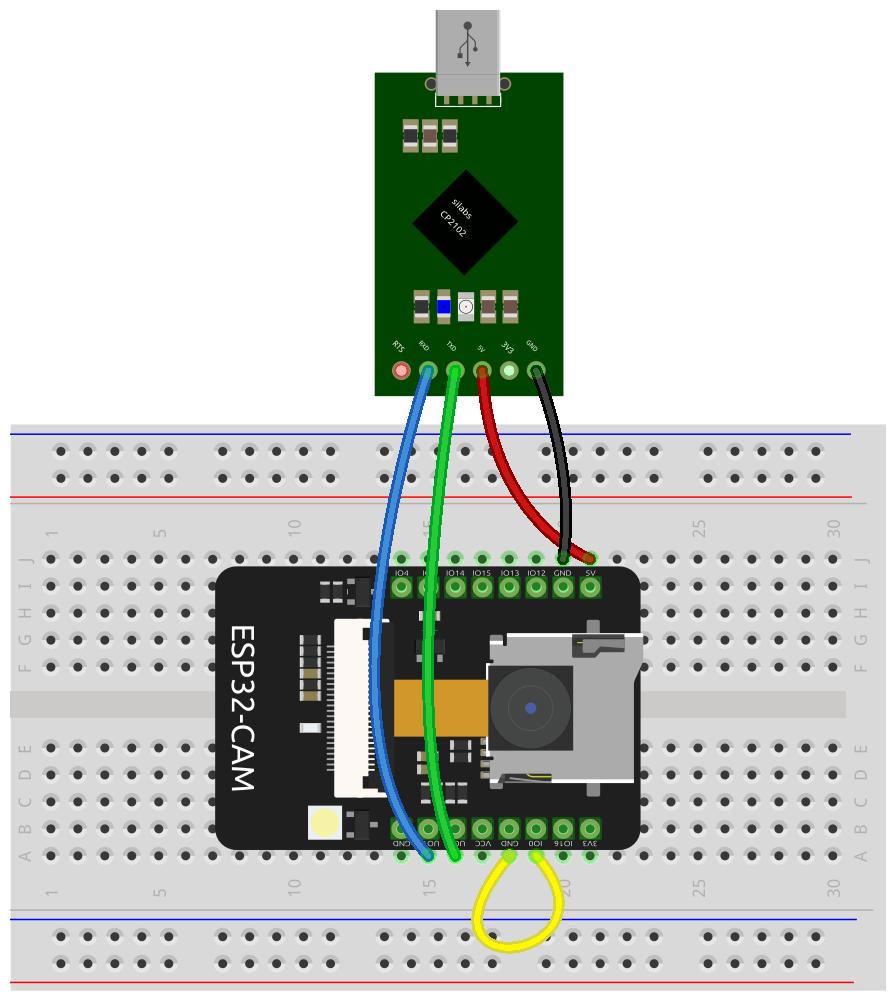 Câblage permettant de programmer l'ESP32-CAM avec un convertisseur USB/TTL CP2102
