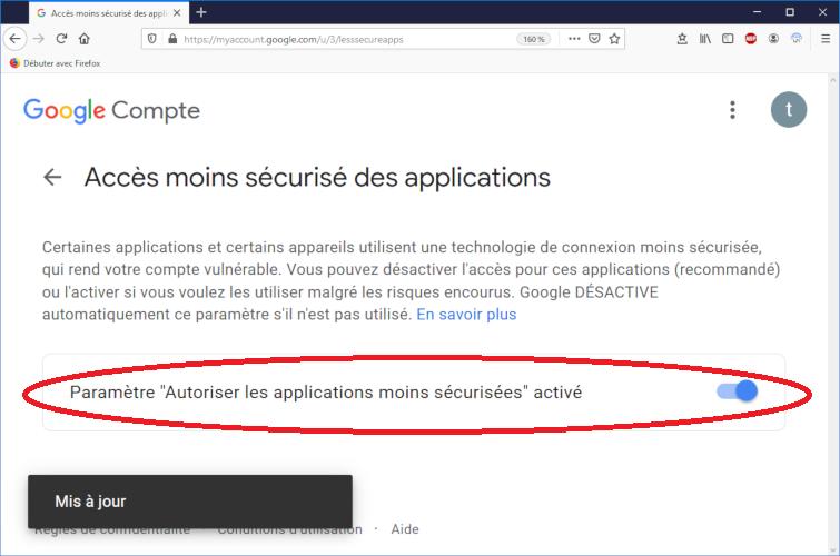 Autoriser l'accès moins sécurisé à la messagerie gmail (suite)