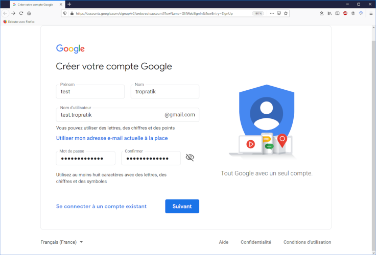 Créer un compte de messagerie gmail