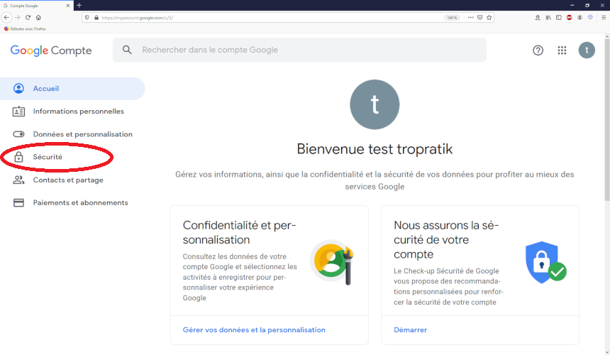 """Menu """"Sécurité"""" des paramètres du compte gmail"""