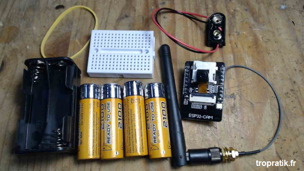 Liste des composants utilisés pour la caméra Wi-Fi ESP32-CAM autonome