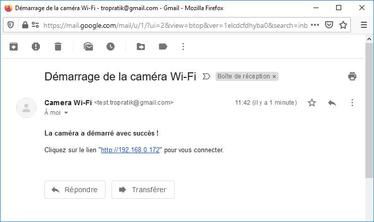 Mail envoyé par le module ESP32-CAM pour informer l'utilisateur du lien internet à utiliser