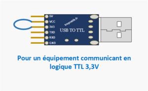 Branchement de la broche VCC du convertisseur USB/TTL CH340G pour communication avec un équipement en logique 3,3V