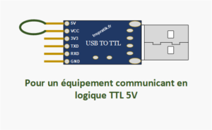 Branchement de la broche VCC du convertisseur USB/TTL CH340G pour communication avec un équipement en logique 5V