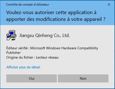 """Contrôle de compte d'utilisateur pour installer les pilotes """"Jiangsu Qinheng Co., Ltd"""""""