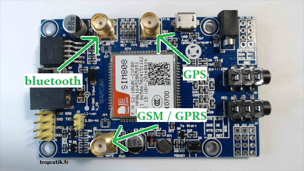Emplacement des antennes sur la carte SIM808