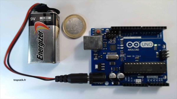Connecteur de pile 9V avec connecteur jack mâle pour Arduino - Exemple d'utilisation