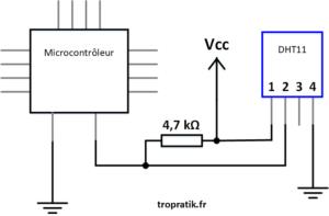 Exemple de câblage du capteur DHT11